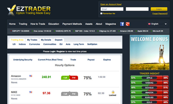 Binary options eztrader